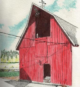 Watercolor of our hay barn by Dick Laninga