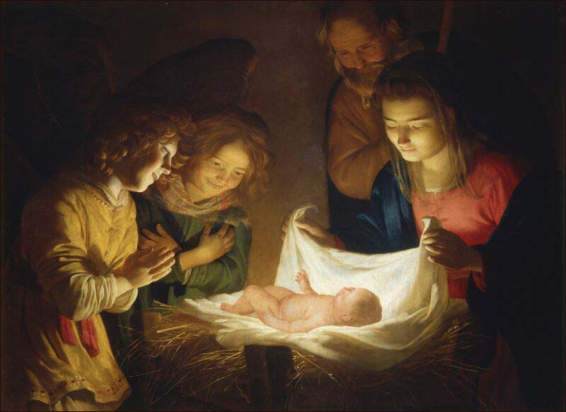 Gerard (Gerrit) van Honthorst (1590–1656), Adoration of the Children (1620), Uffizi Gallery, Florence. Italy