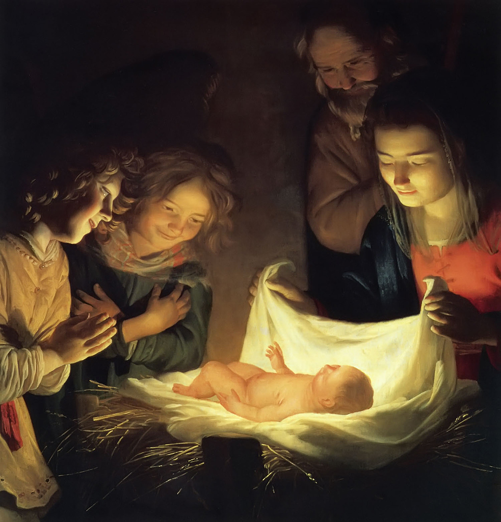 Adoration of the Child by Gerrit van Honthorst