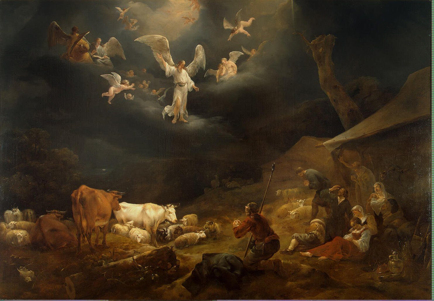 Annunciation to the Shepherds by  Berchem Nicolaes Pietersz