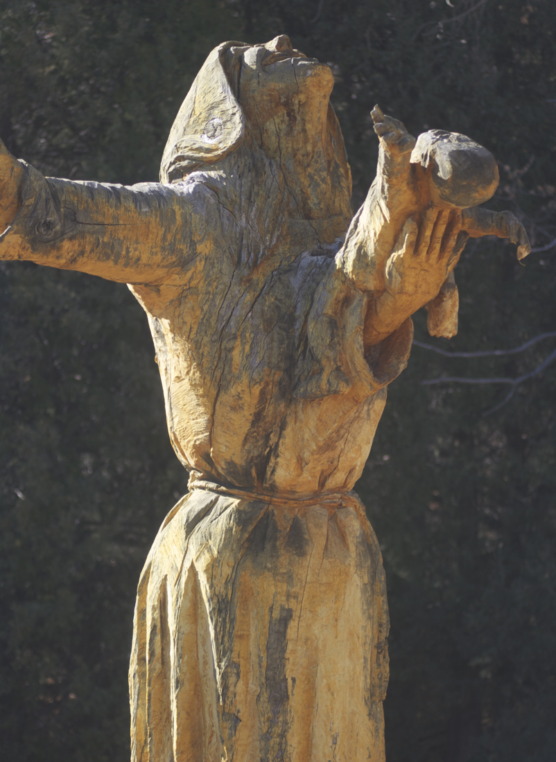 Wood sculpture of Rachel weeping, located at Our Lady of Guadelupe Abbey, Texas