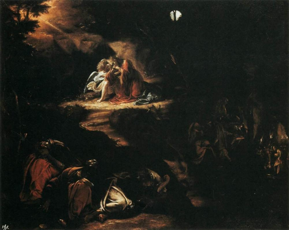 Image result for jesus in the garden of gethsemane while the disciples slept