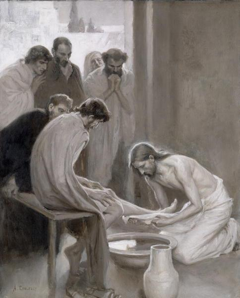 Jesus washing the feet of his disciples by Finnish artist Albert Gustaf Edelfelt