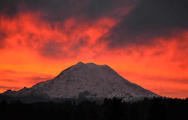 photo of Mt. Rainier sunrise by Kathy Yates