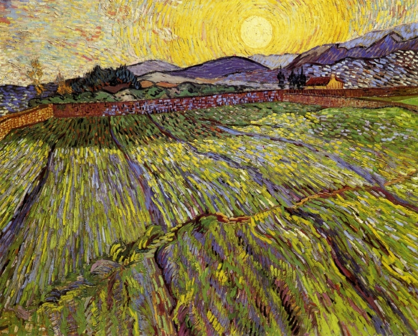 Enclosed field with rising sun --Van Gogh