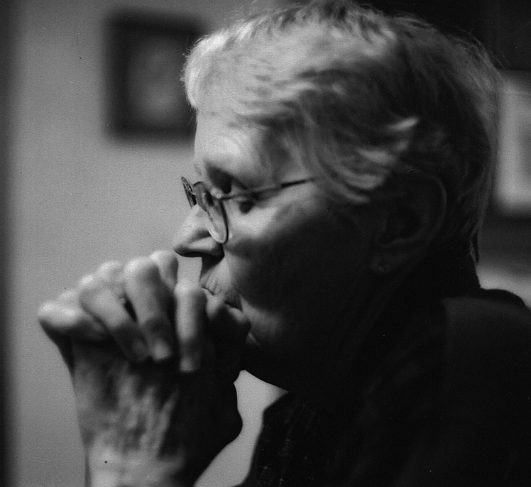 portrait of Dan's mom, Emma Gibson, praying,  by granddaughter Sara Lenssen