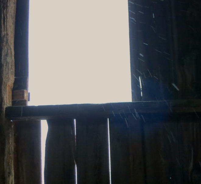 blowing snow in the barn