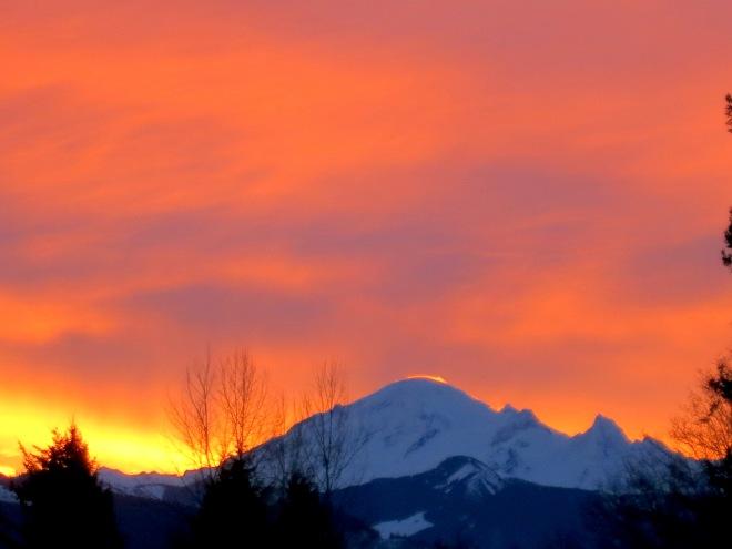 sunrise over Mt Baker this morning