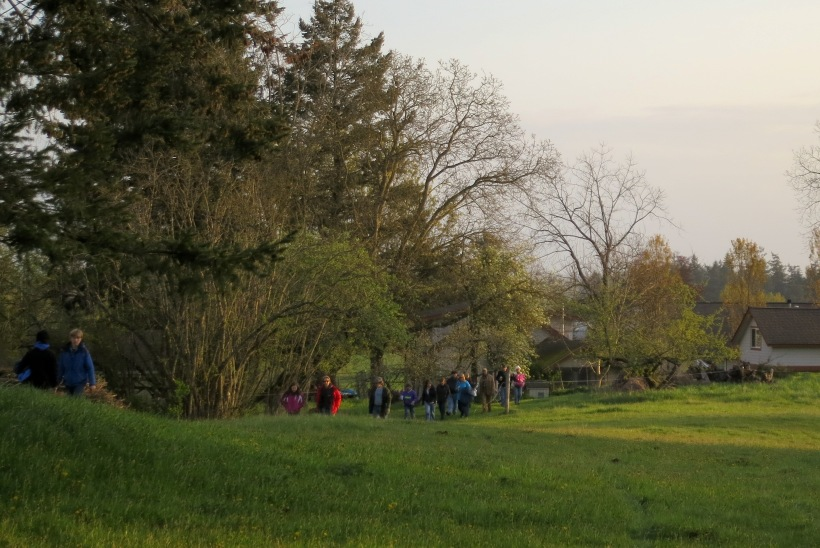 a stream of people walking up the hill this morning for Easter Sunrise Service on our farm