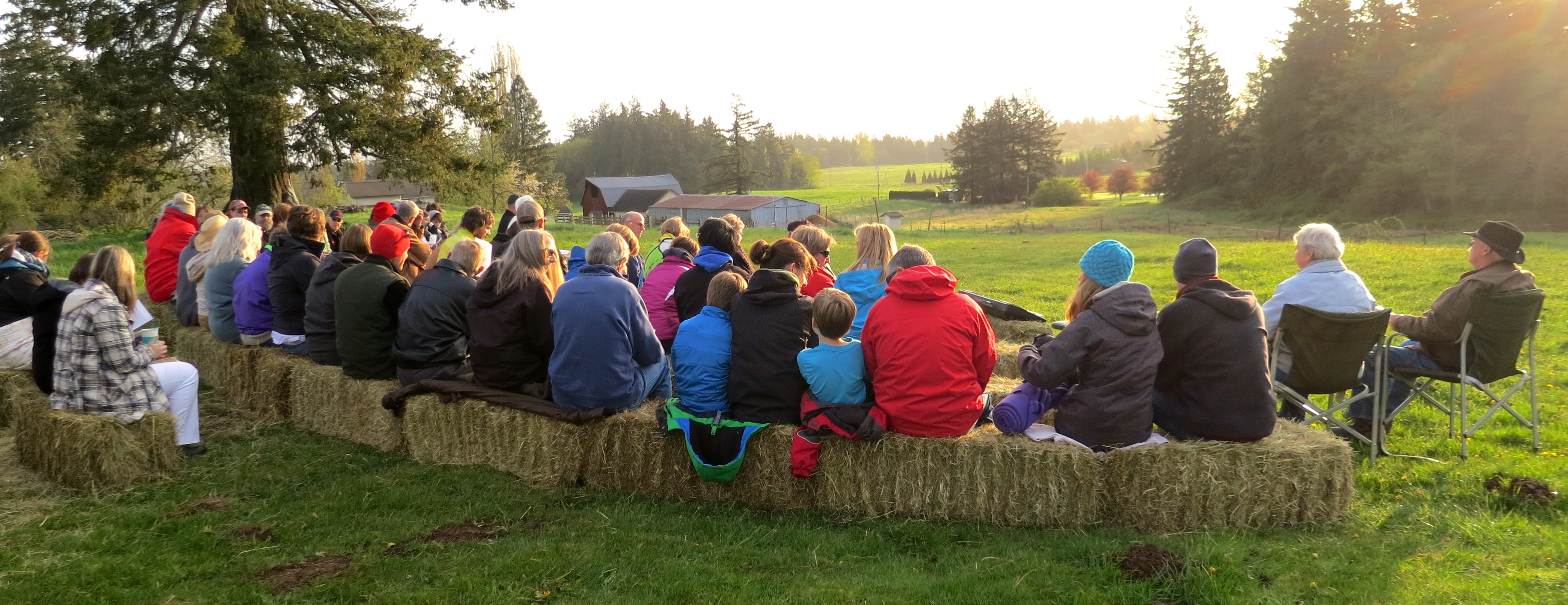 Some of the worshippers at our 2014 Easter Sunrise Service on our farm hilltop