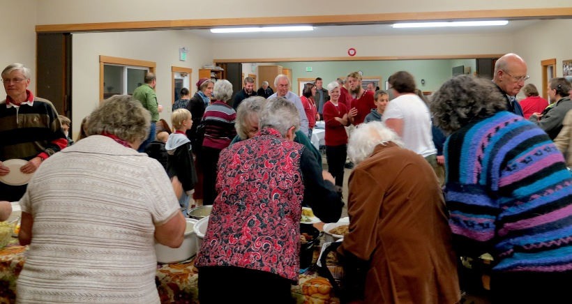 A gathering of over 90 church family and friends, including two special people over 90 years of age!